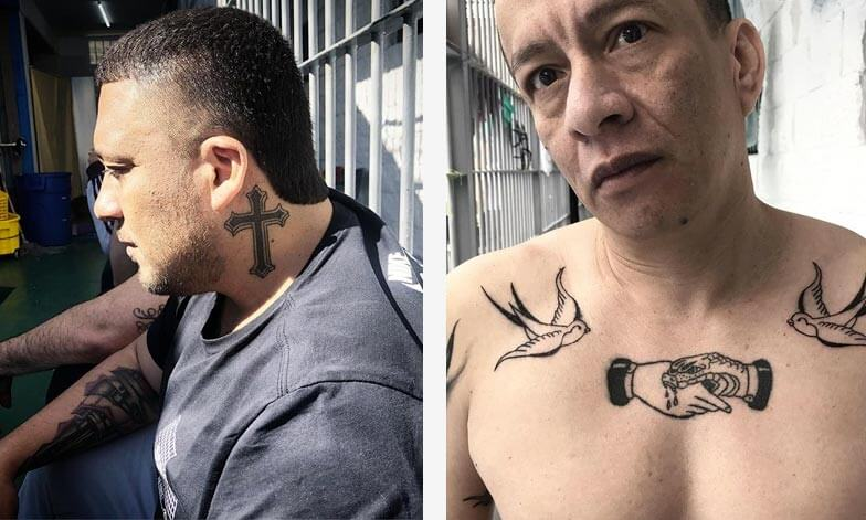 Tattoos by Inocent Kidd made in La Picota, Bogota's prison. Cross & swallows with hand and snake.
